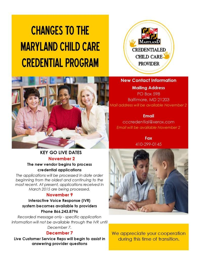 Changes to the Maryland Child Care Credential Program